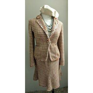 Anne Klein Multi fridge pink tweed 2PC suit